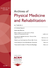 Archives of Physical Medicine and Rehabilitation - ISSN 0003-9993