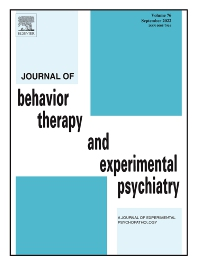 Journal of Behavior Therapy and Experimental Psychiatry - ISSN 0005-7916