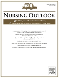 cover of Nursing Outlook