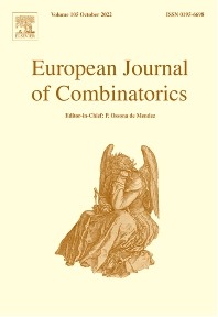 Cover image for European Journal of Combinatorics