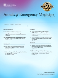 Annals of Emergency Medicine - ISSN 0196-0644