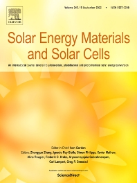 cover of Solar Energy Materials and Solar Cells