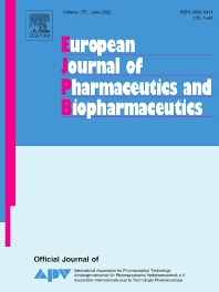 Cover image for European Journal of Pharmaceutics and Biopharmaceutics