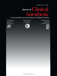 Cover image for Journal of Clinical Anesthesia