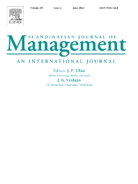 Cover image for Scandinavian Journal of Management