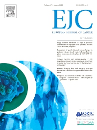 Cover image for European Journal of Cancer