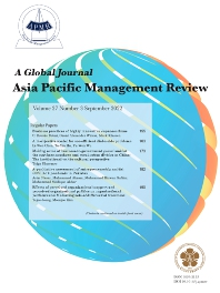 Cover image for Asia Pacific Management Review
