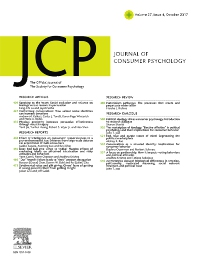 Journal of Consumer Psychology - ISSN 1057-7408