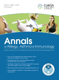 Cover image for Annals of Allergy, Asthma & Immunology