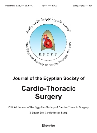Cover image for Journal of the Egyptian Society of Cardio-Thoracic Surgery