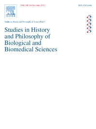 Cover image for Studies in History and Philosophy of Science Part C: Studies in History and Philosophy of Biological and Biomedical Sciences