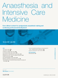 Cover image for Anaesthesia and Intensive Care Medicine