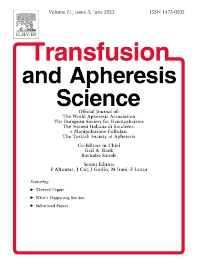 Cover image for Transfusion and Apheresis Science
