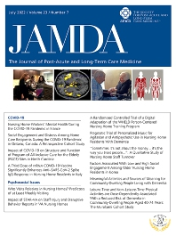 Cover image for Journal of the American Medical Directors Association
