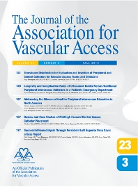Cover image for Journal of the Association for Vascular Access