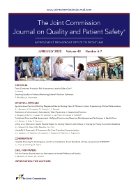 Cover image for The Joint Commission Journal on Quality and Patient Safety