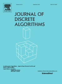 Cover image for Journal of Discrete Algorithms