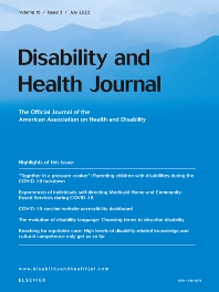 Cover image for Disability and Health Journal