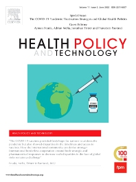 Cover image for Health Policy and Technology