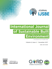 International Journal of Sustainable Built Environment - ISSN 2212-6090