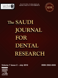 Cover image for The Saudi Journal for Dental Research