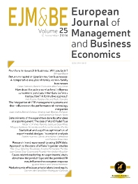 Cover image for European Journal of Management and Business Economics