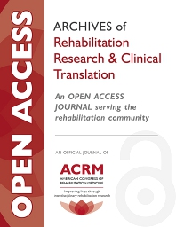 Cover image for Archives of Rehabilitation Research and Clinical Translation
