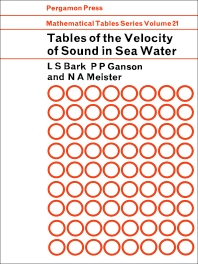 Tables of the Velocity of Sound in Sea Water - 1st Edition - ISBN: 9780080099996, 9781483164953