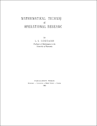 Cover image for Mathematical Techniques of Operational Research