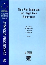 Thin Film Materials for Large Area Electronics, 1st Edition,B. Equer,B. Drevillon,I. French,T. Kallfass,ISBN9780080436074