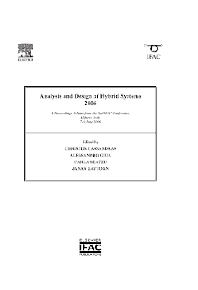 Analysis and Design of Hybrid Systems 2006, 1st Edition,Christos Cassandras,Alessandro Giua,Carla Seatzu,Janan Zaytoon,ISBN9780080446134