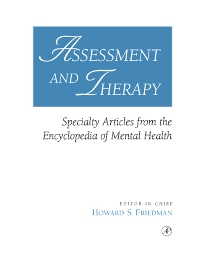 Assessment and Therapy, 1st Edition,Howard Friedman,ISBN9780080527635