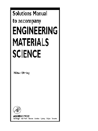 Solutions Manual to accompany Engineering Materials Science - 1st Edition - ISBN: 9780125249980, 9780080572086