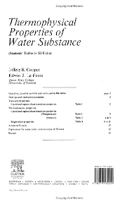 Cover image for Thermophysical Properties of Water Substance