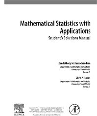 Cover image for Student Solutions Manual, Mathematical Statistics with Applications