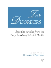 The Disorders, 1st Edition,Howard Friedman,ISBN9780122678059