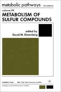 Metabolism of Sulfur Compounds  - 3rd Edition - ISBN: 9780122992575, 9780323162081