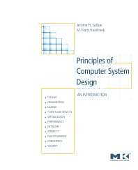 Principles of Computer System Design, 1st Edition,Jerome Saltzer,M. Frans Kaashoek,ISBN9780123749574