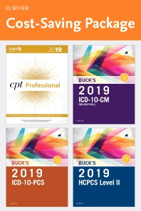 Cover image for 2019 ICD-10-CM Hospital Edition, 2019 ICD-10-PCS Edition, 2019 HCPCS Professional Edition and AMA 2019 CPT Professional Edition Package