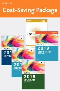 Cover image for Step-by-Step Medical Coding 2019 Edition - Text, Workbook, 2019 ICD-10-CM for Physicians Edition, 2019 HCPCS Professional Edition and AMA 2019 CPT Professional Edition Package
