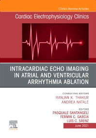 Cover image for Intracardiac Echo Imaging in Atrial and Ventricular Arrhythmia Ablation, An Issue of Cardiac Electrophysiology Clinics