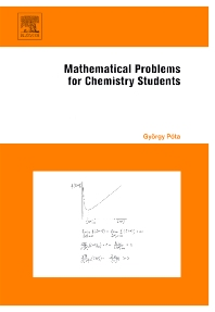 Mathematical Problems for Chemistry Students - 1st Edition - ISBN: 9780444527943, 9780080464893