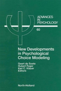 Cover image for New Developments in Psychological Choice Modeling