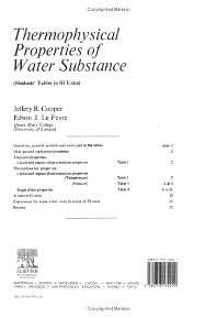 Thermophysical Properties of Water Substance, 1st Edition,Jeffrey Cooper,Edwin Le Fevre,ISBN9780713132229