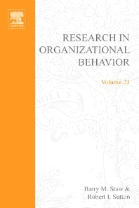 Research in Organizational Behavior, 1st Edition,Barry Staw,ISBN9780762308422