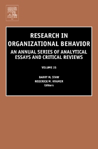 Research in Organizational Behavior, 1st Edition,Roderick M Kramer,Barry Staw,ISBN9780762310548