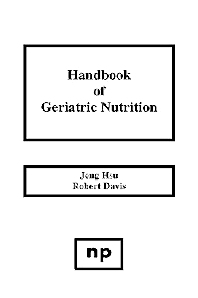 Cover image for Handbook of Geriatric Nutrition