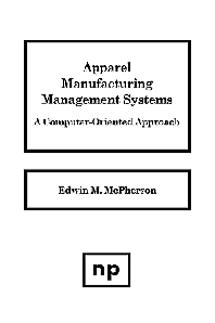 Apparel Manufacturing Management Systems, 1st Edition,Edwin M. McPherson,ISBN9780815511410