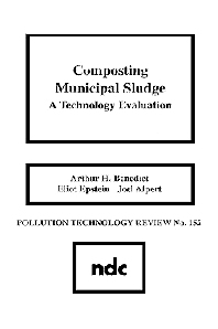 Composting Municipal Sludge, 1st Edition,ISBN9780815511625