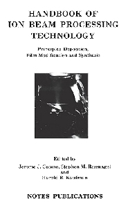 Cover image for Handbook of Ion Beam Processing Technology